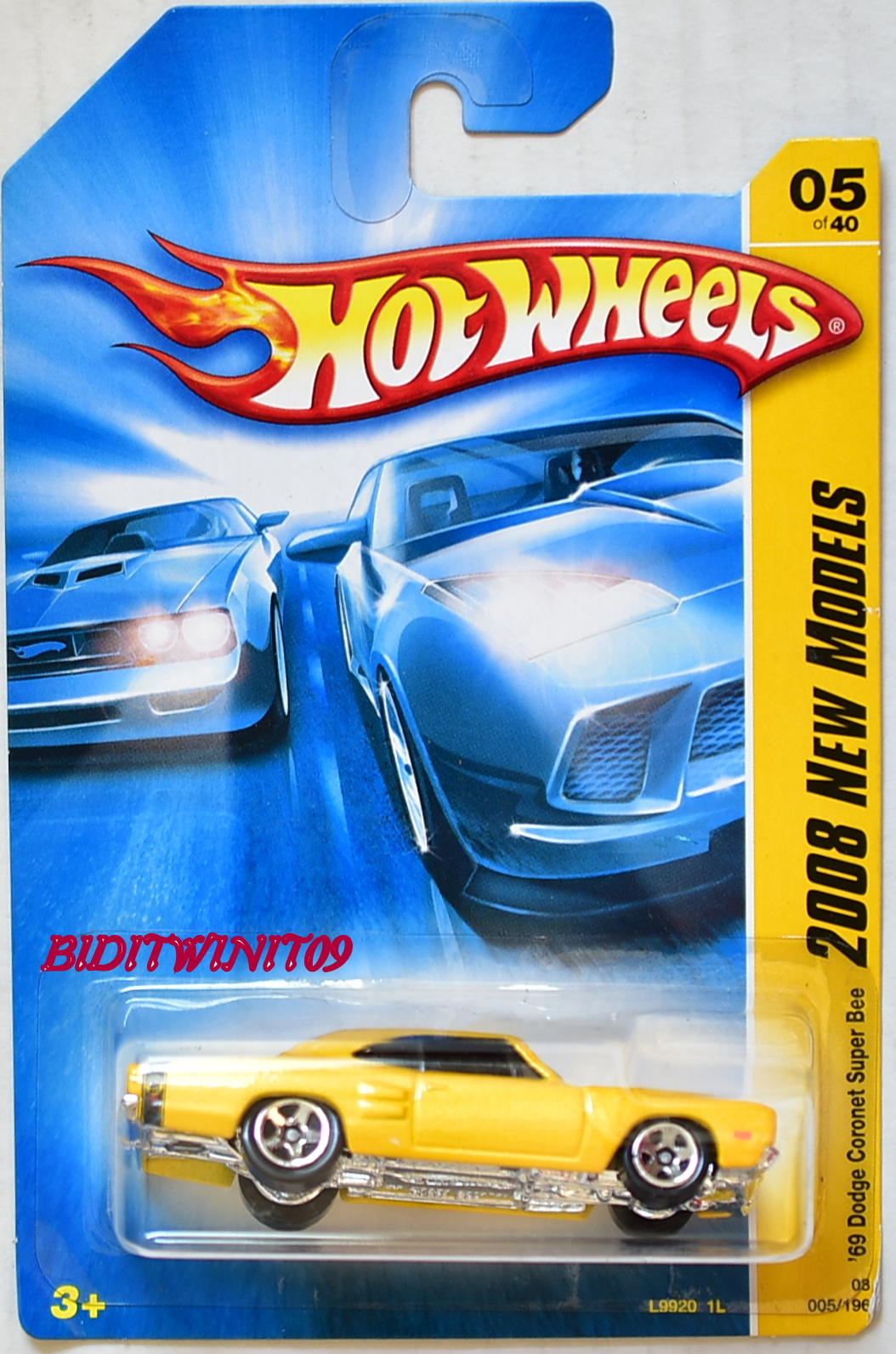 HOT WHEELS 2008 NEW MODELS '69 DODGE CORONET SUPER BEE YELLOW #05/40