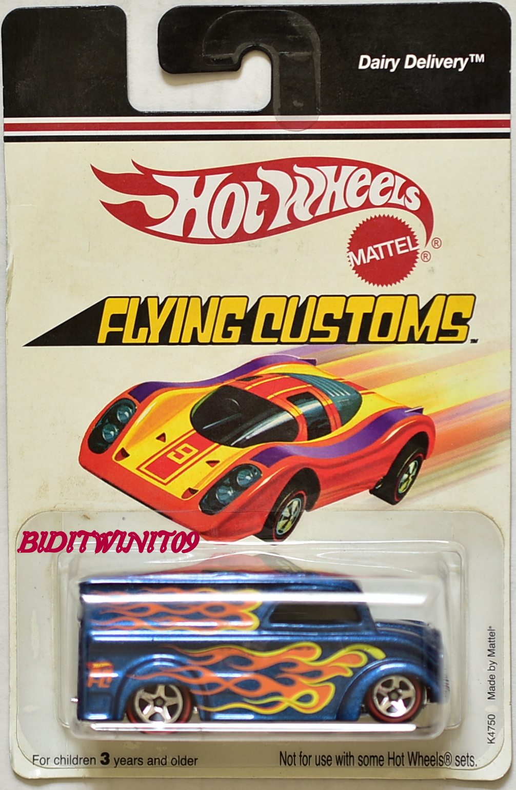HOT WHEELS PLYING CUSTOMS DAIRY DELIVERY K4750 MADE BY MATTEL BAD CARD E+