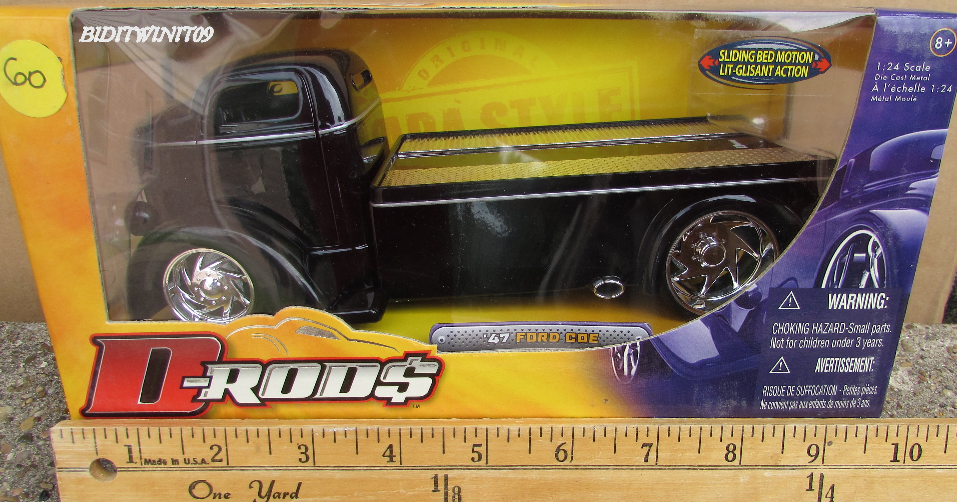 JADA-D RODS '47 FORD COE SLIDING BED 1:24 BLACK TOW TRUCK E+