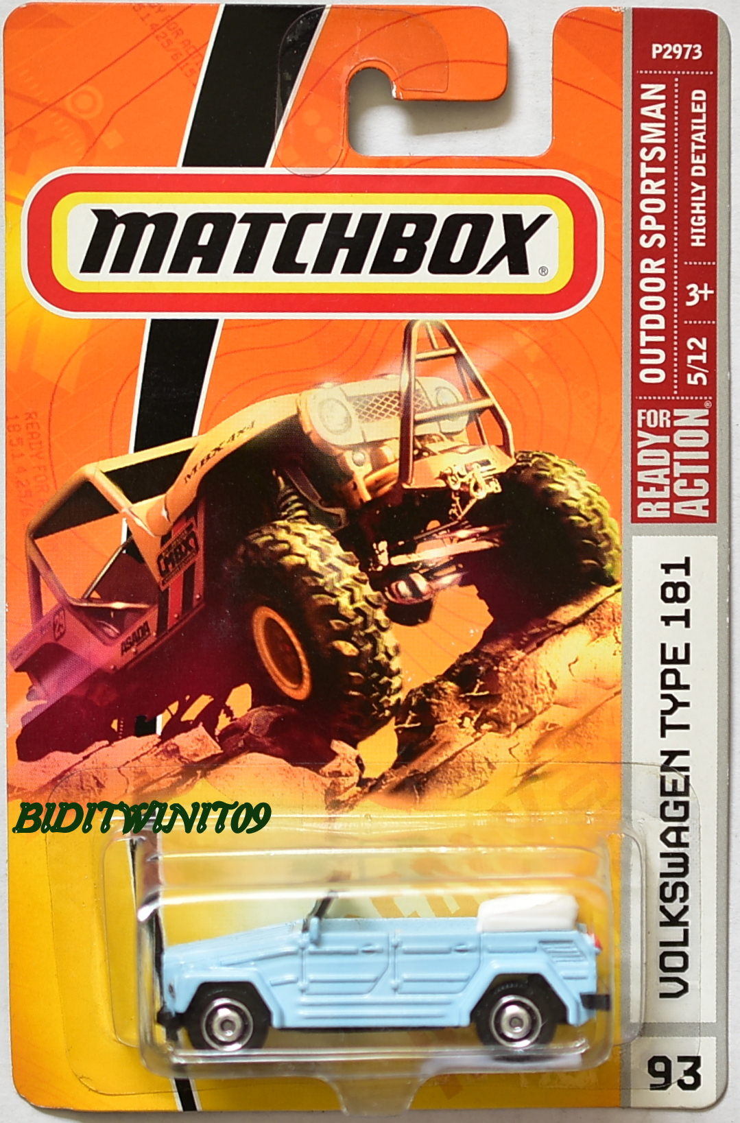 MATCHBOX 2008 READY FOR ACTION OUTDOOR SPORTSMAN VOLKSWAGEN TYPE 181 LIGHT BLUE