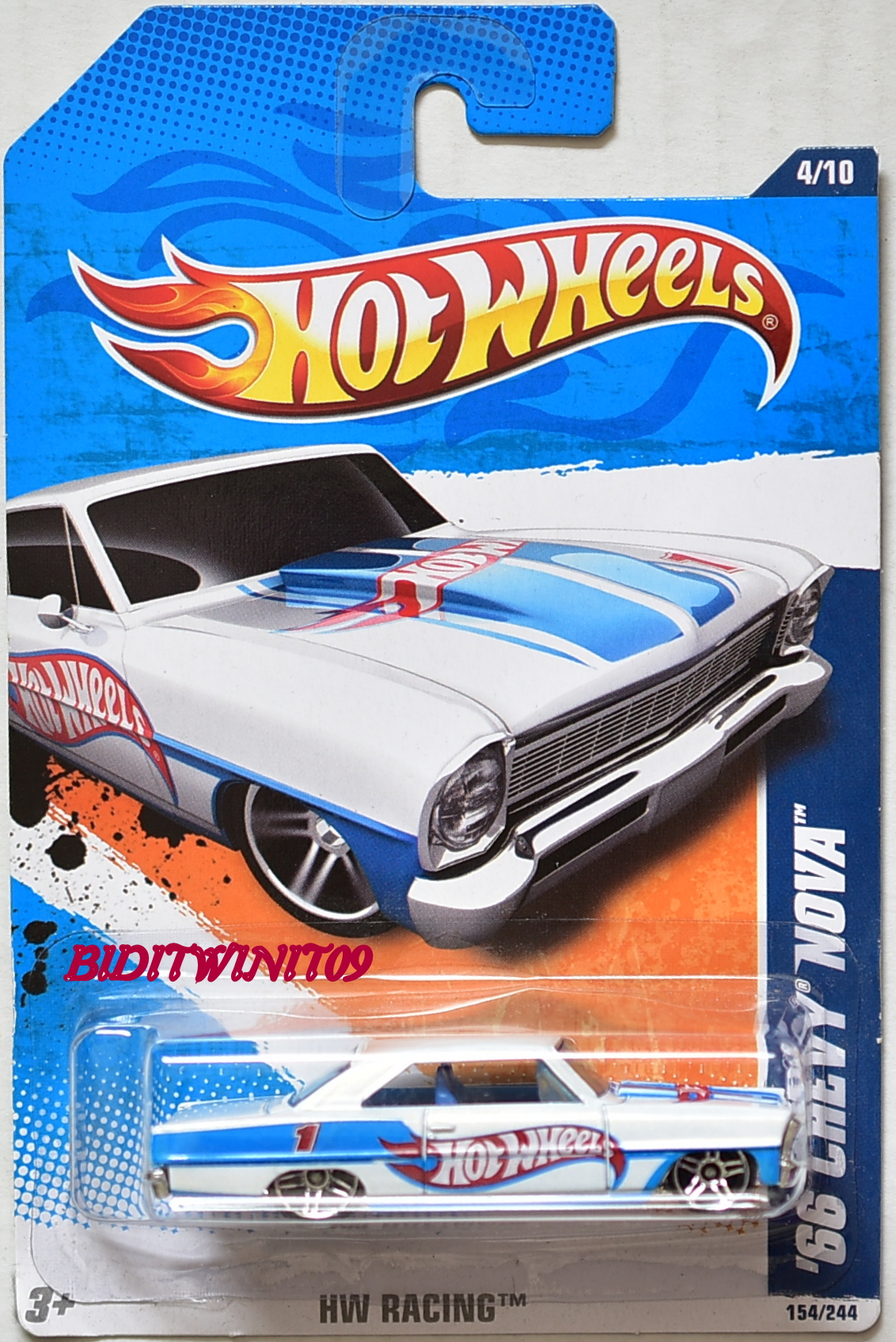 HOT WHEELS 2011 #04/10 '66 CHEVY NOVA HW RACING
