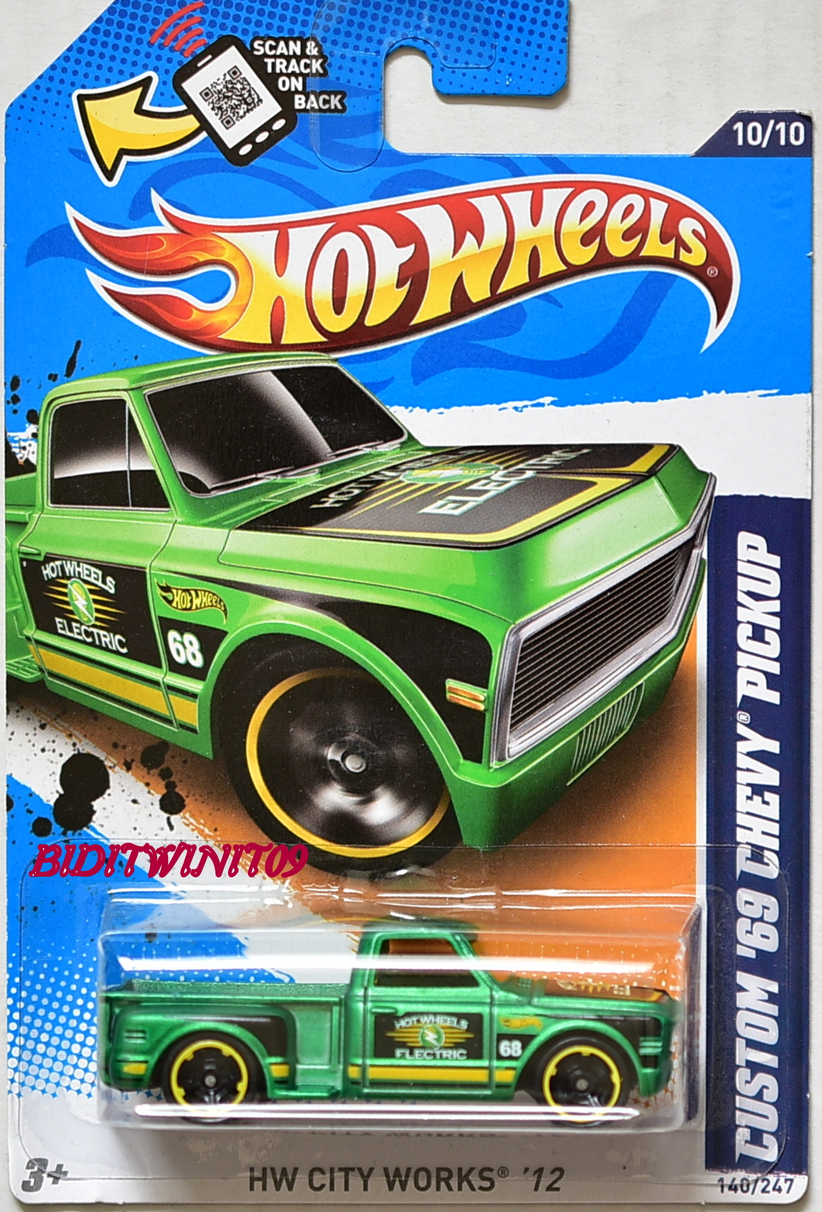 HOT WHEELS 2012 HW CITY WORKS CUSTOM '69 CHEVY PICKUP E+