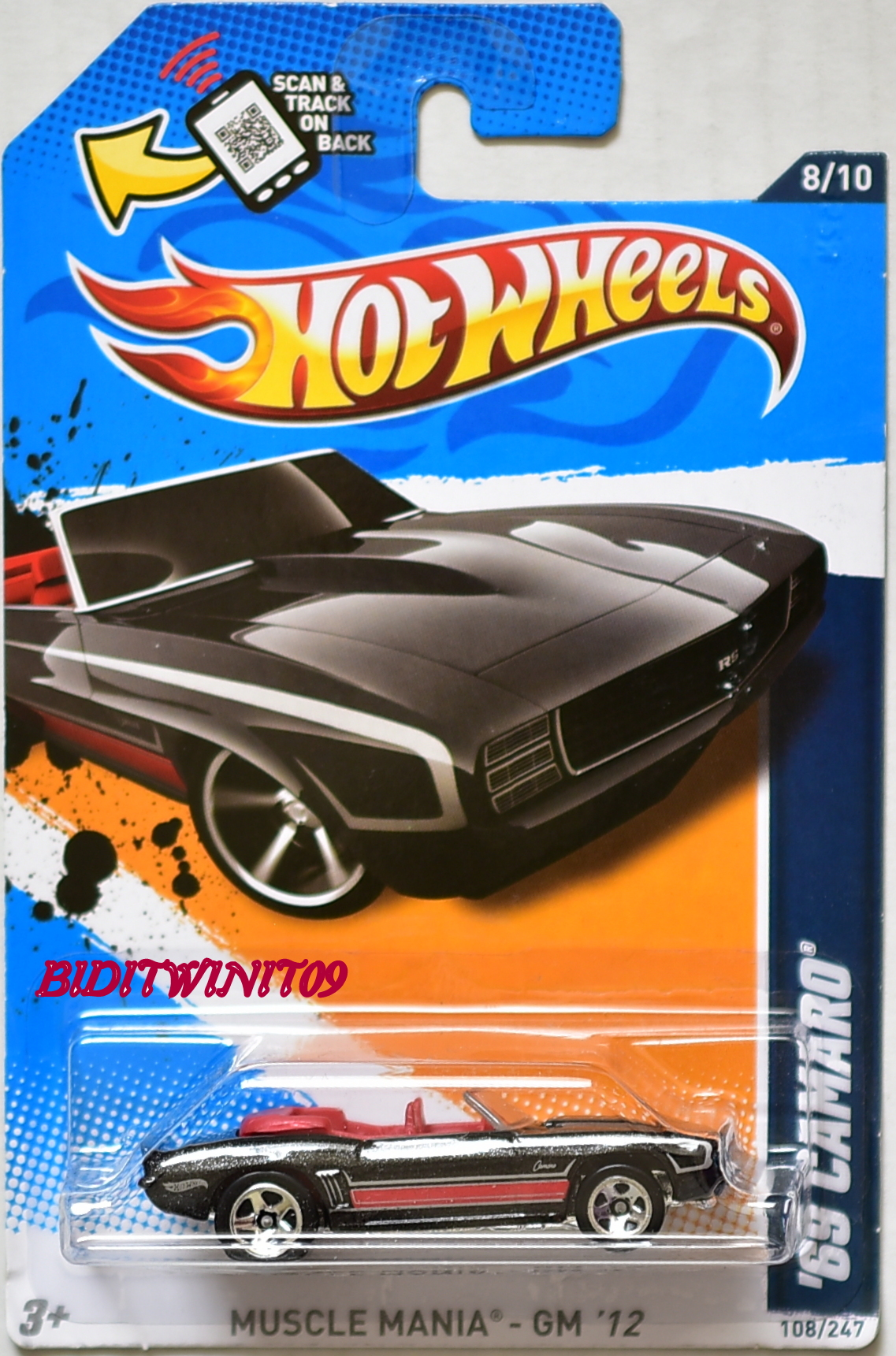 HOT WHEELS 2012 #08/10 '69 CAMARO RED - MUSCLE MANIA
