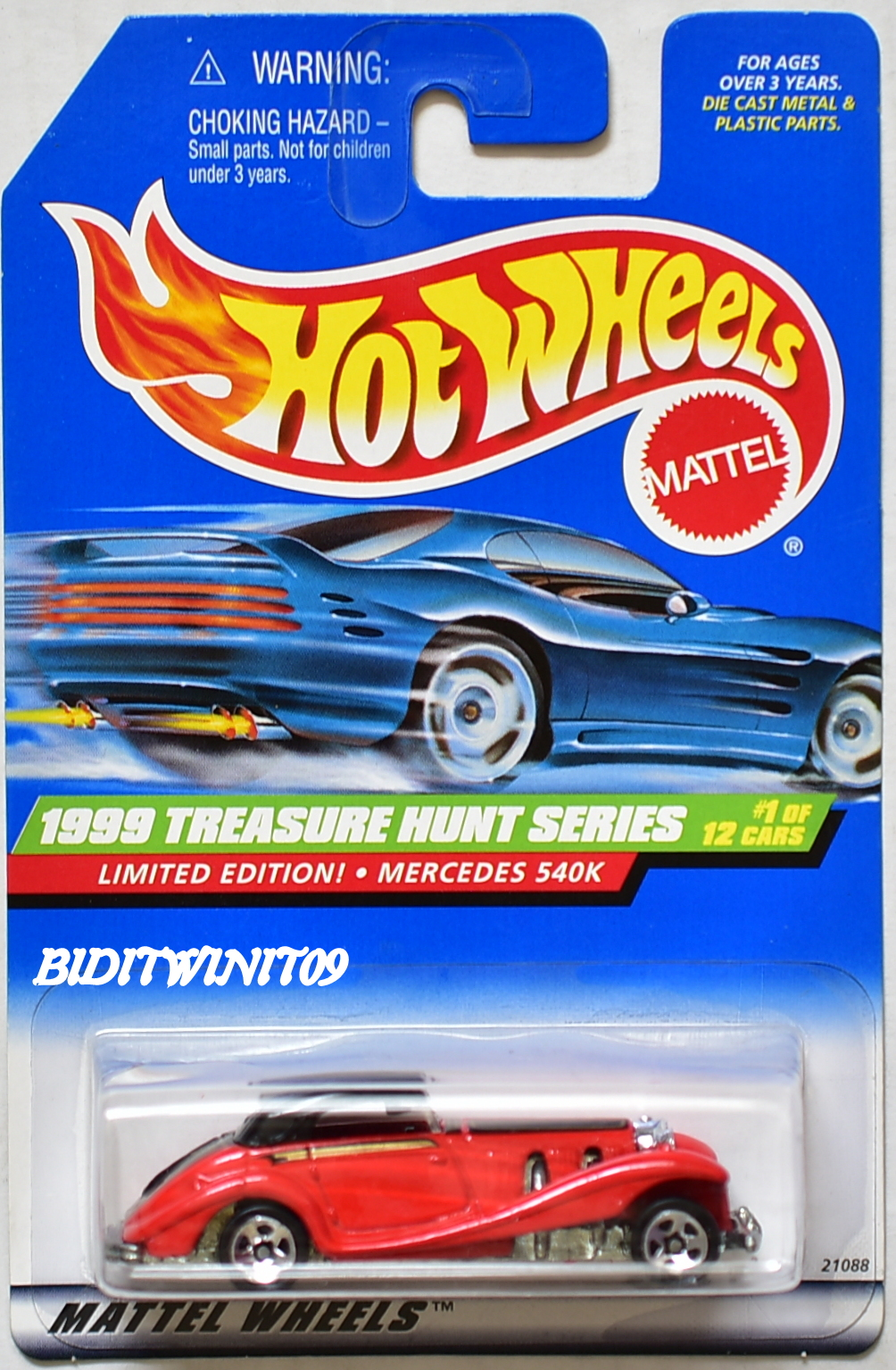 HOT WHEELS 1999 TREASURE HUNT SERIES LIMITED EDITION MERCEDES 540K RED E+