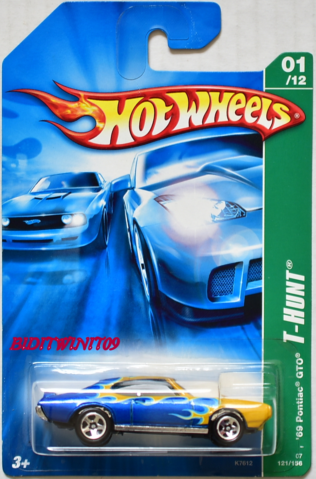 HOT WHEELS 2007 REGULAR TREASURE HUNT '69 PONTIAC GTO #01/12