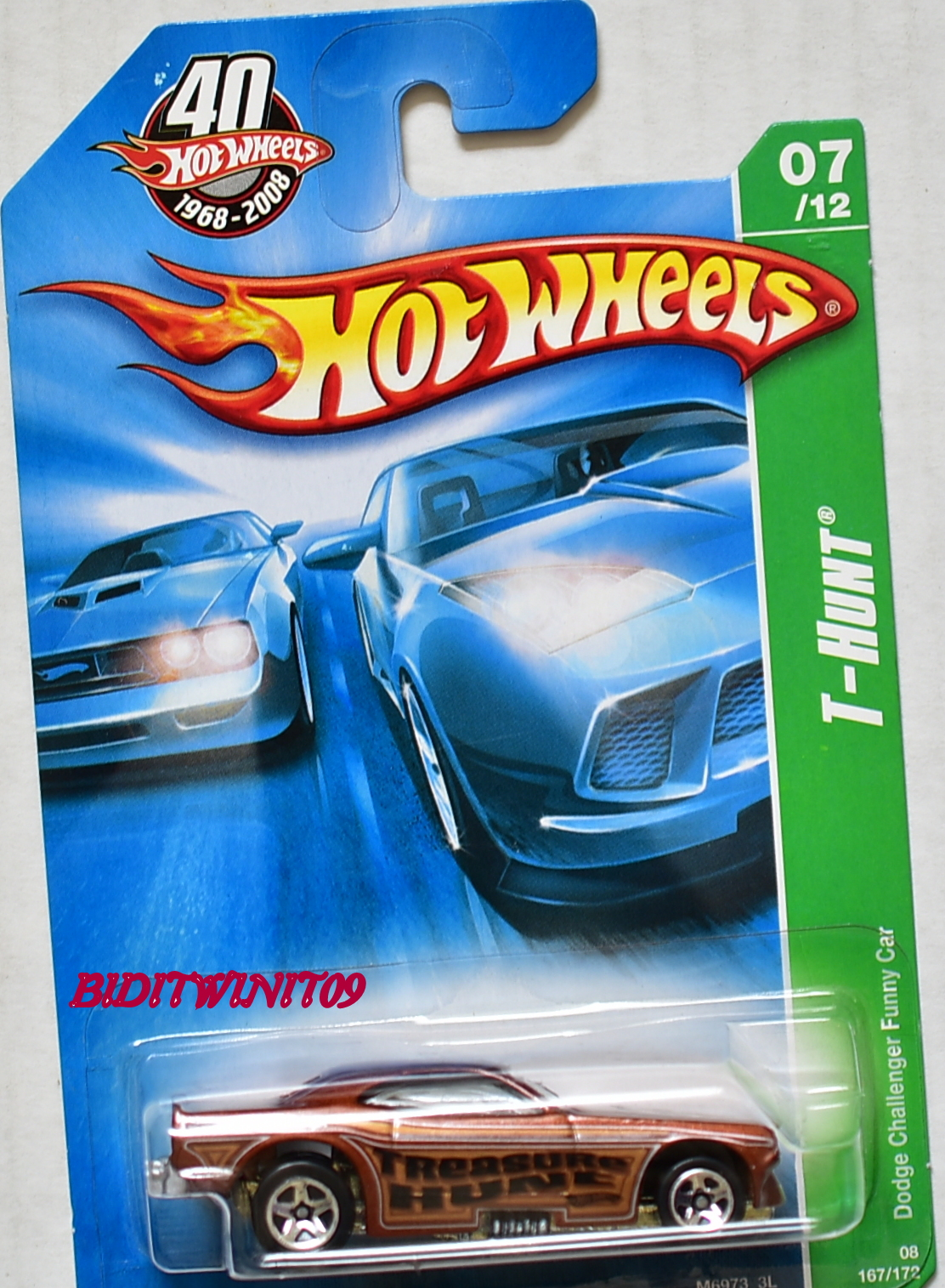 HOT WHEELS 2008 REGULAR TREASURE HUNT DODGE CHALLENGER FUNNY CAR #07/12 E+