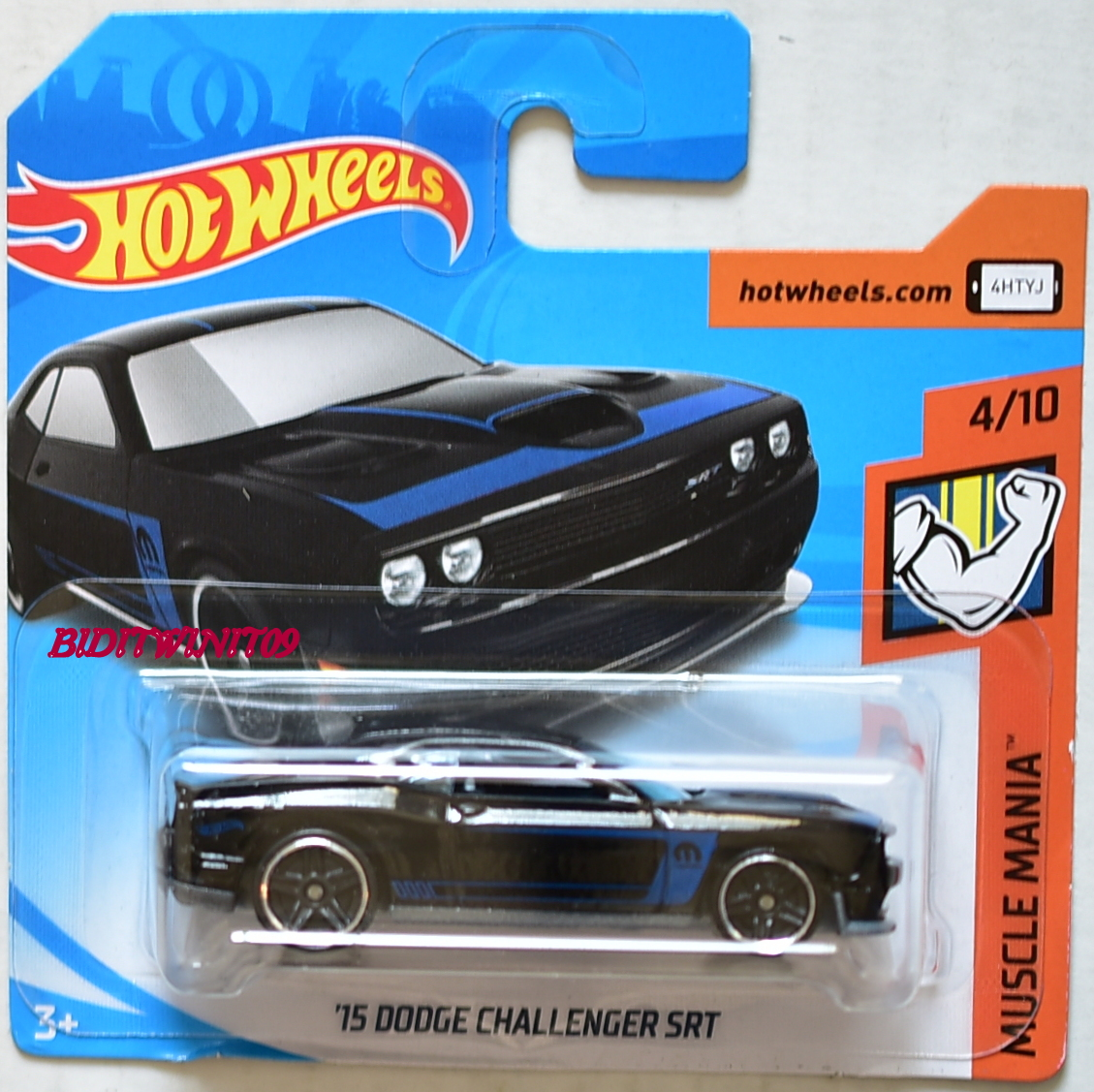 HOT WHEELS 2018 MUSCLE MANIA '15 DODGE CHARGER SRT BLACK SHORT CARD