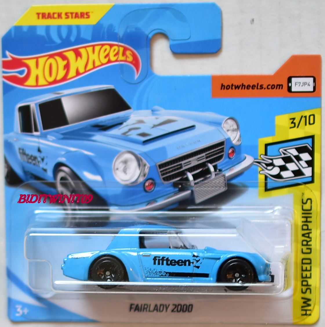 HOT WHEELS 2018 HW SPEED GRAPHICS FAIRLADY 2000 #3/10 BLUE SHORT CARD
