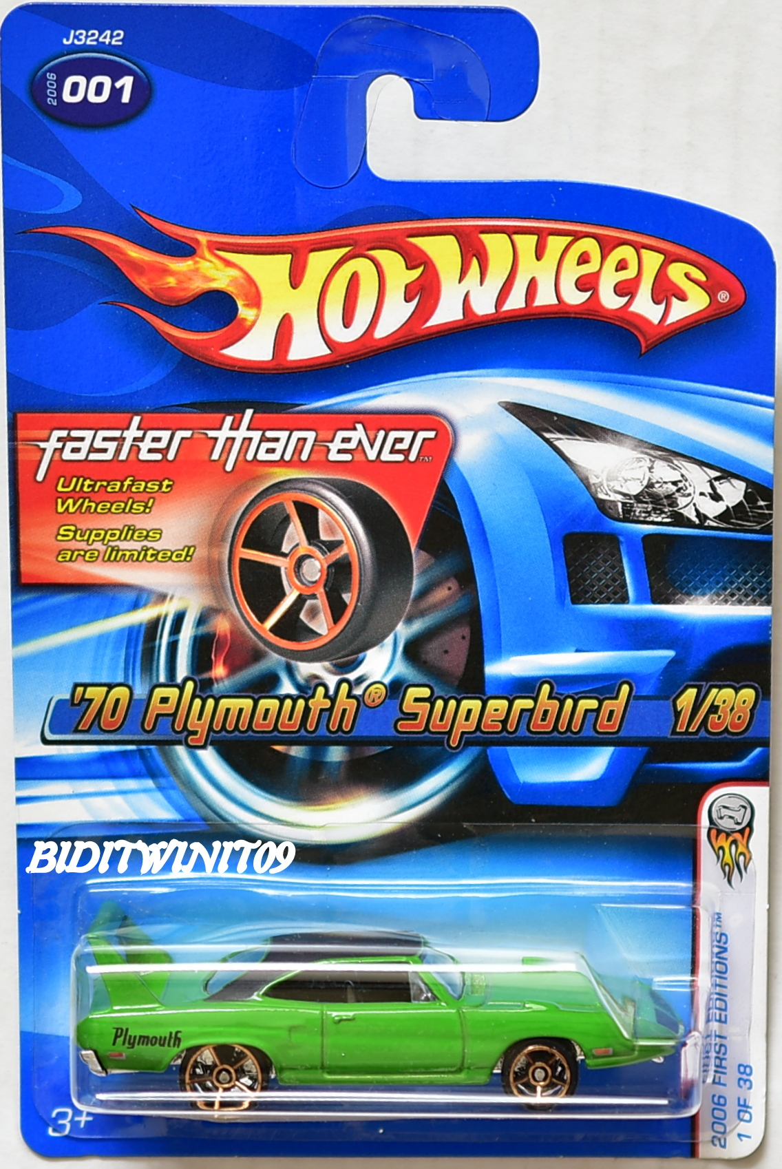 HOT WHEELS 2006 FIRST EDITIONS FTE '70 PLYMOUTH SUPERBIRD GREEN MIB