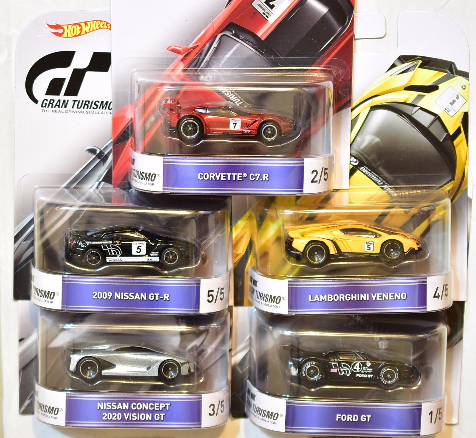 HOT WHEELS RETRO ENTERTAINMENT 2016 COMPLETE SET OF 5 NISSAN LAMBORGHINI GRAN TURISMO