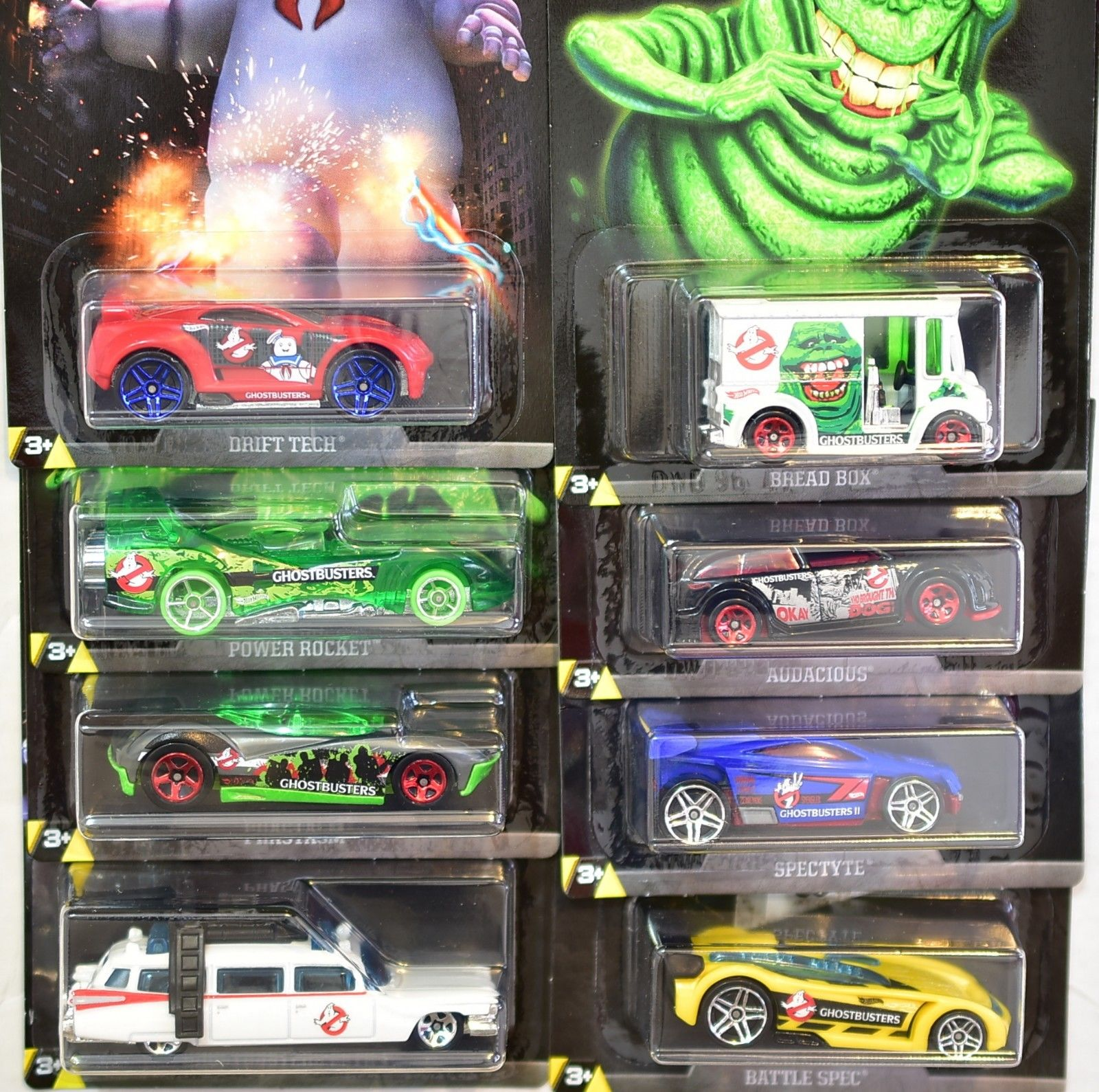 HOT WHEELS GHOSTBUSTERS SET OF 8 BREAD BOX PHASTASM SPECTYTE ECTO-1 BAD CARD