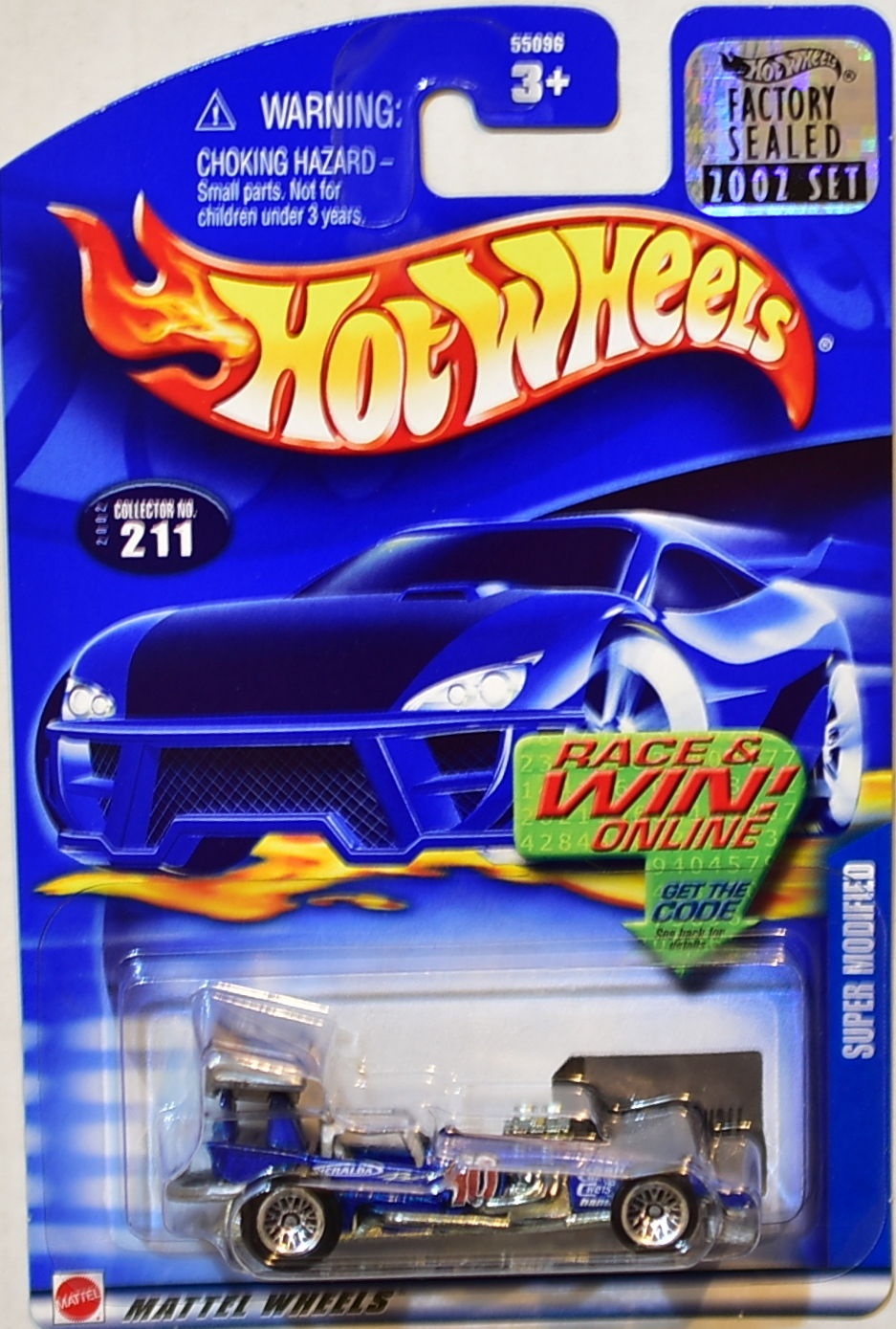 HOT WHEELS 2002 SUPER MODIFIED #211 BLUE FACTORY SEALED
