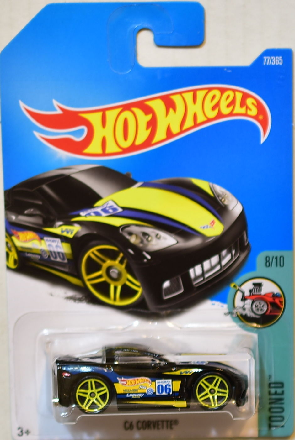 HOT WHEELS 2017 TOONED C6 CORVETTE #8/10 BLACK
