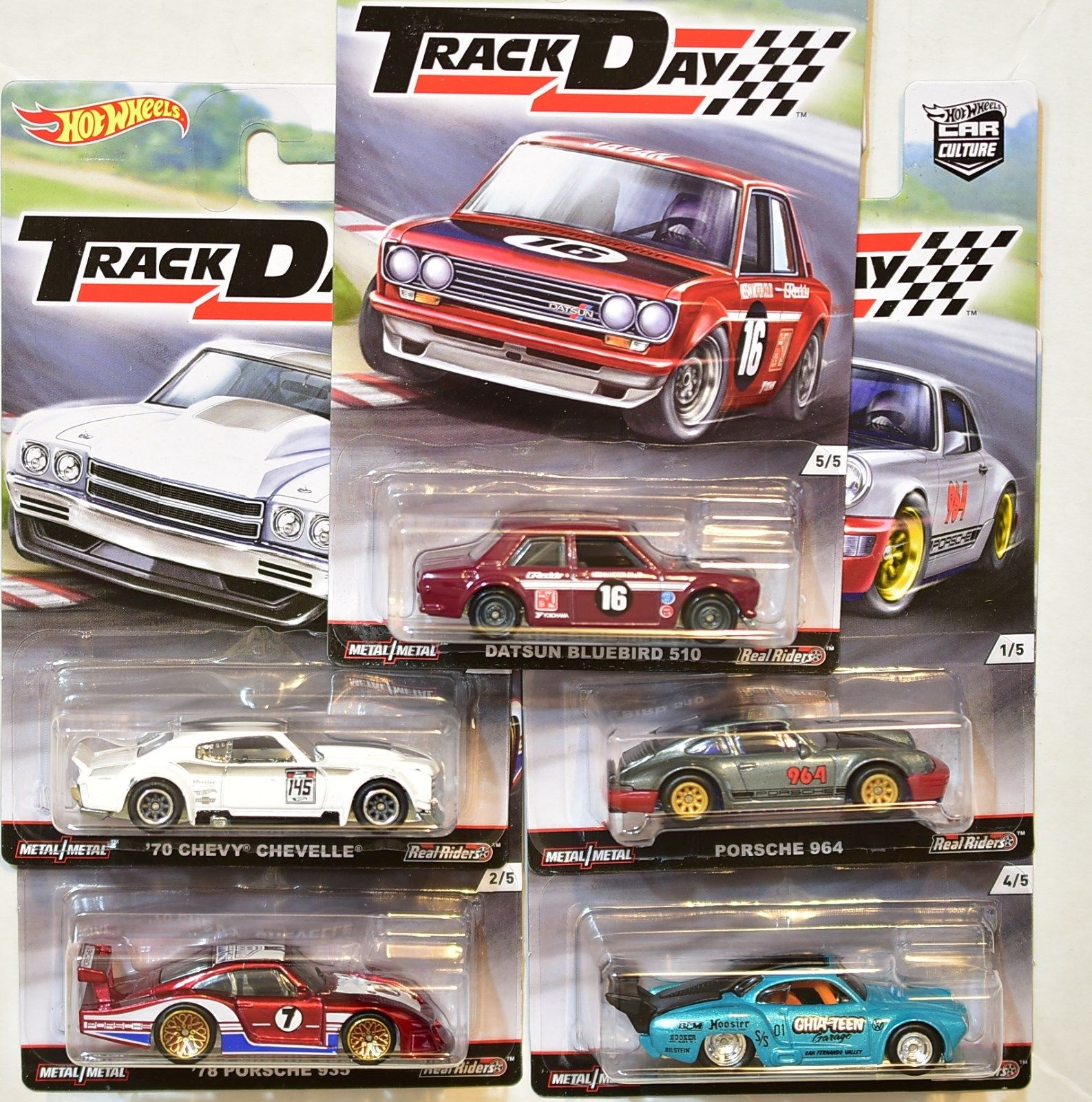 HOT WHEELS 2016 COMPLETE SET OF 5 RELEASE D TRACK DAY