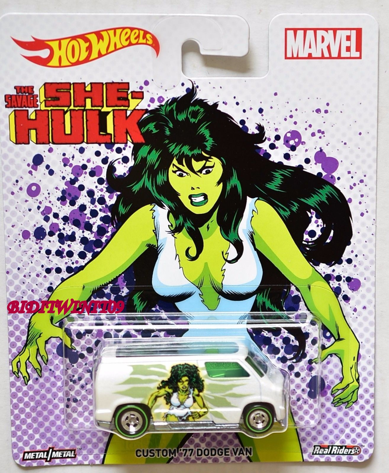 HOT WHEELS POP CULTURE 2017 MARVEL CUSTOM '77 DODGE VAN - THE SAVAGE SHE-HULK