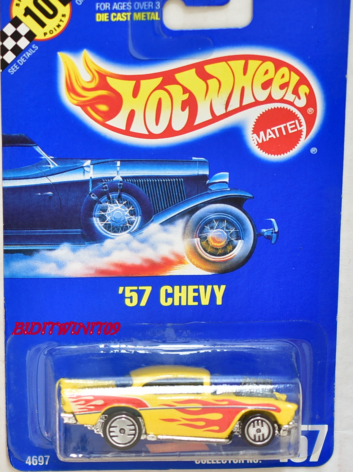 HOT WHEELS 1990 BLUE CARD '57 CHEVY NO 157 ON BASE