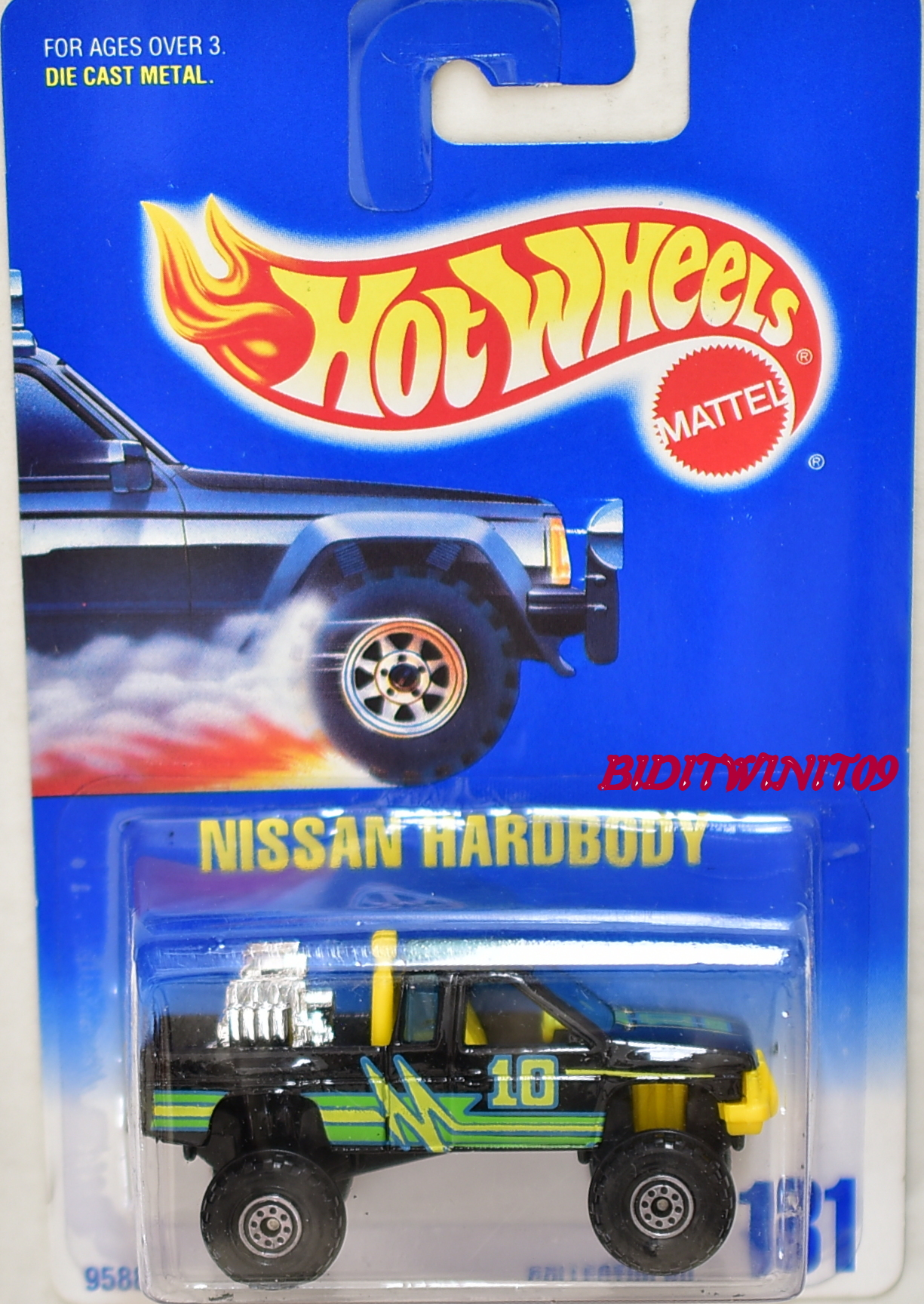HOT WHEELS 1991 BLUE CARD NISSAN HARDBODY BLACK W/ YELLOW INTERIOR CT WHEELS
