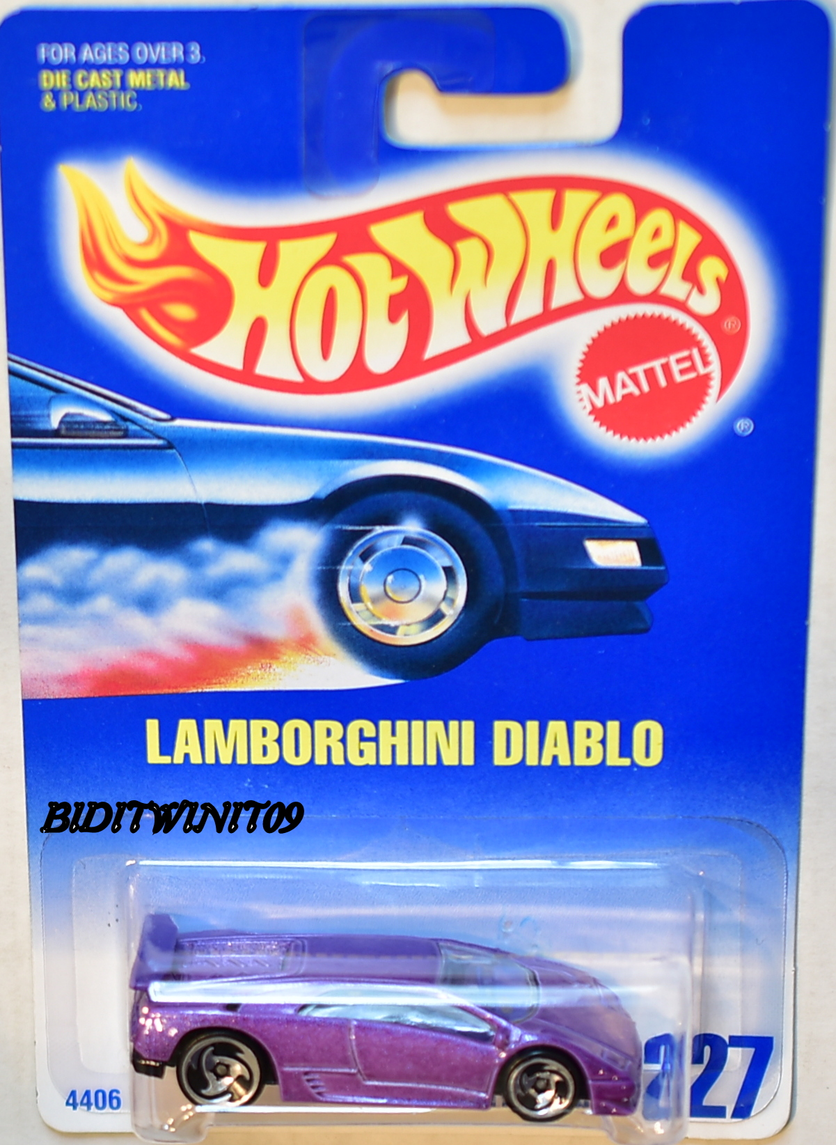 HOT WHEELS 1991 BLUECARD LAMBORGHINI DIABLO W/ SAWBLADE WHEELS