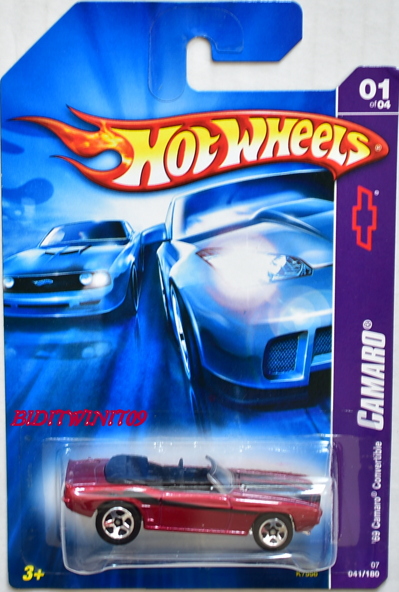 HOT WHEELS 2007 CAMARO '69 CAMARO CONVERTIBLE W/ 5SP WHEELS