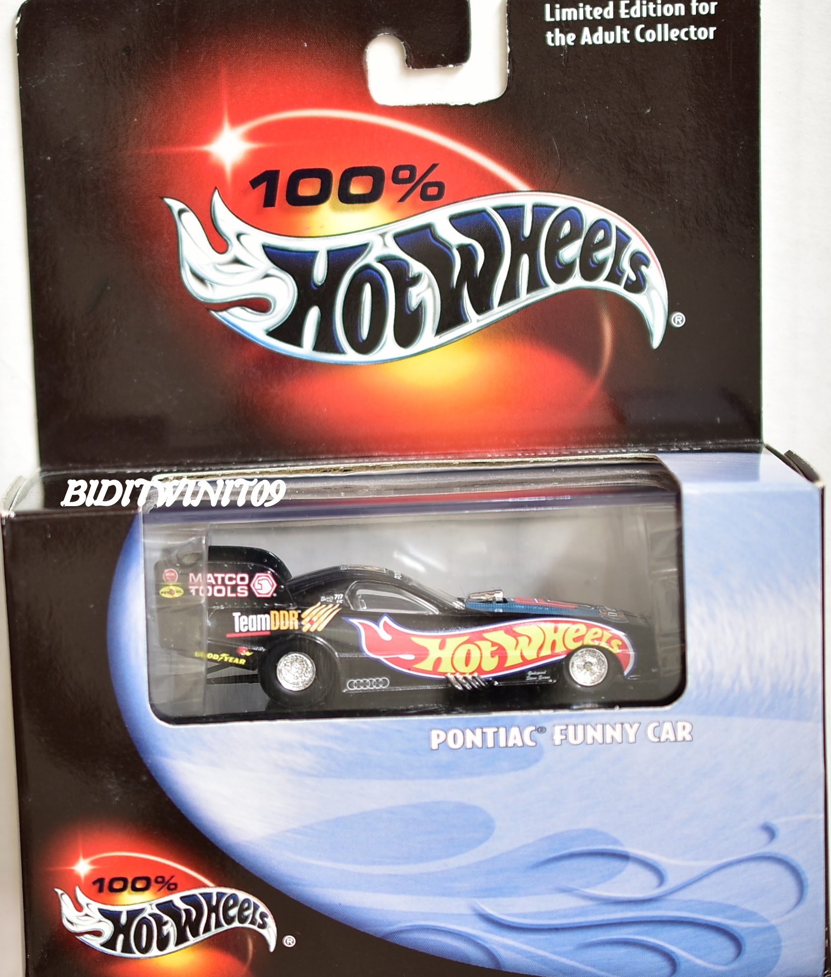 HOT WHEELS 100% BLACK BOX PONTIAC FUNNY CAR LIMITED EDITION E+