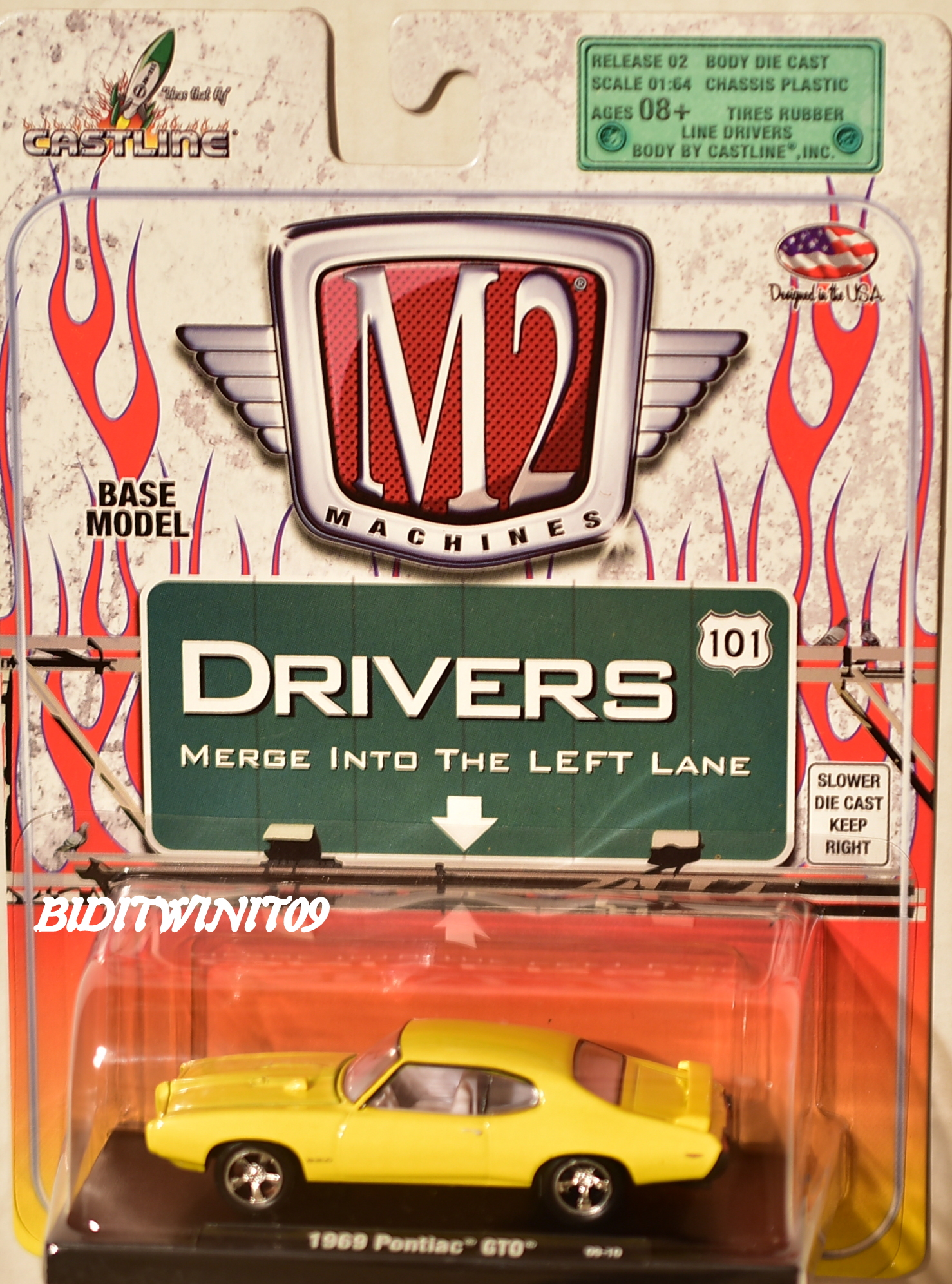M2 MACHINES AUTO-DRIVERS 1969 PONTIAC GTO 09-10 YELLOW E+