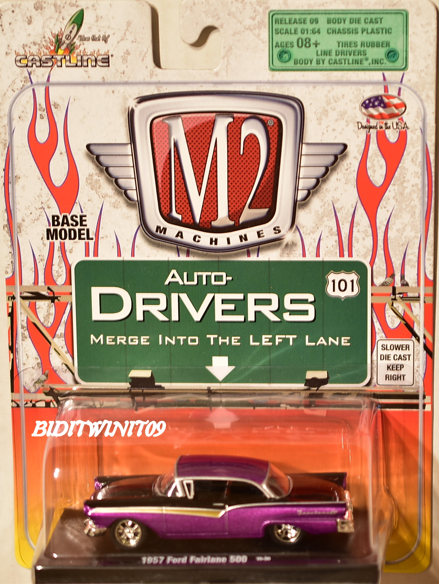 M2 MACHINES AUTO-DRIVERS 1957 FORD FAIRLANE 500 10-30 PURPLE E+