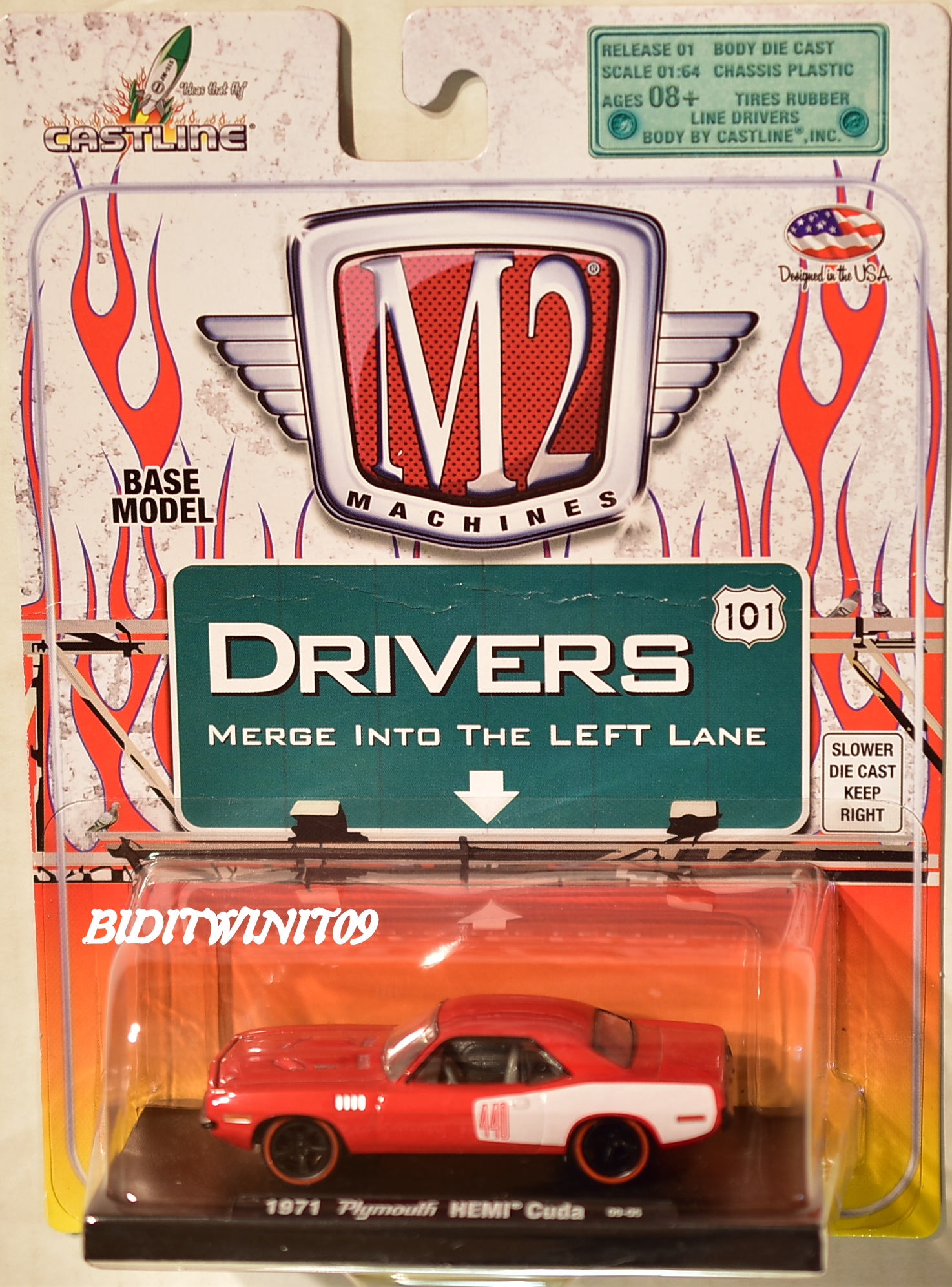 M2 MACHINES AUTO-DRIVERS 1971 PLYMOUTH HEMI CUDA 09-05 RED E+