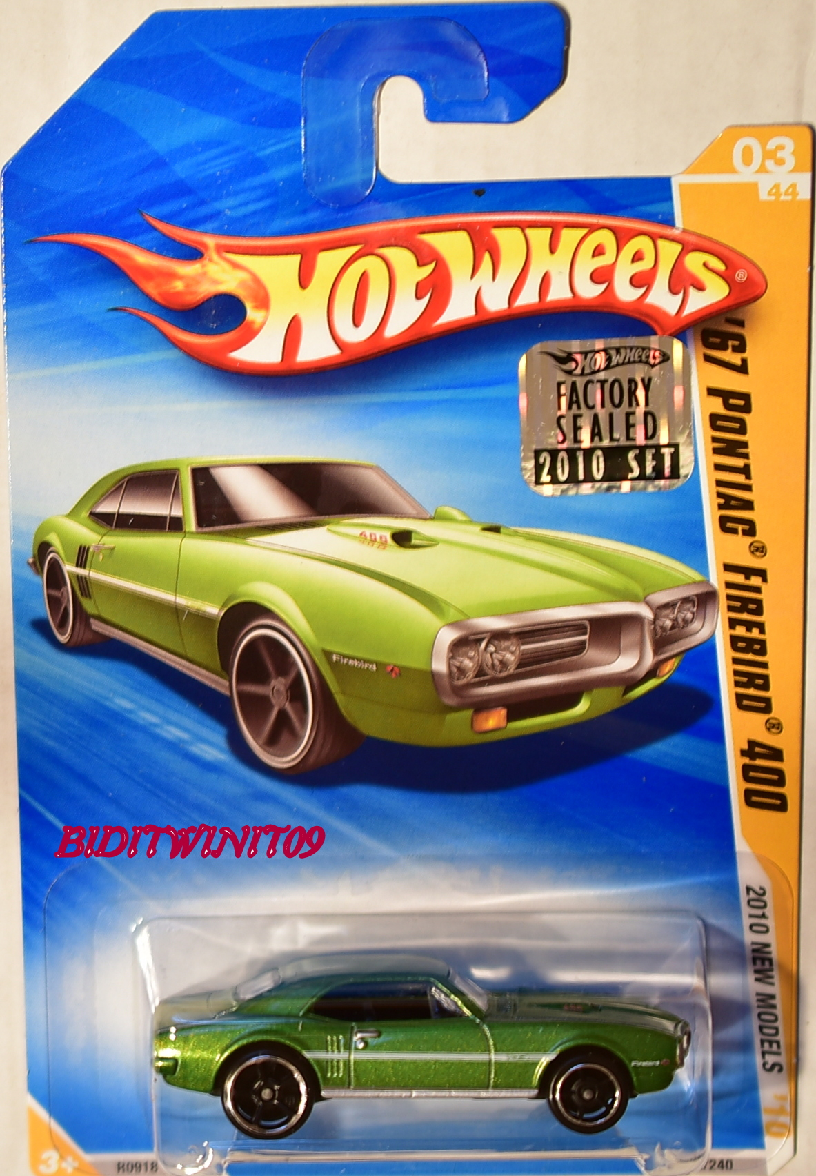 HOT WHEELS 2010 NEW MODELS '67 PONTIAC FIREBIRD 400 GREEN FACTORY SEALED