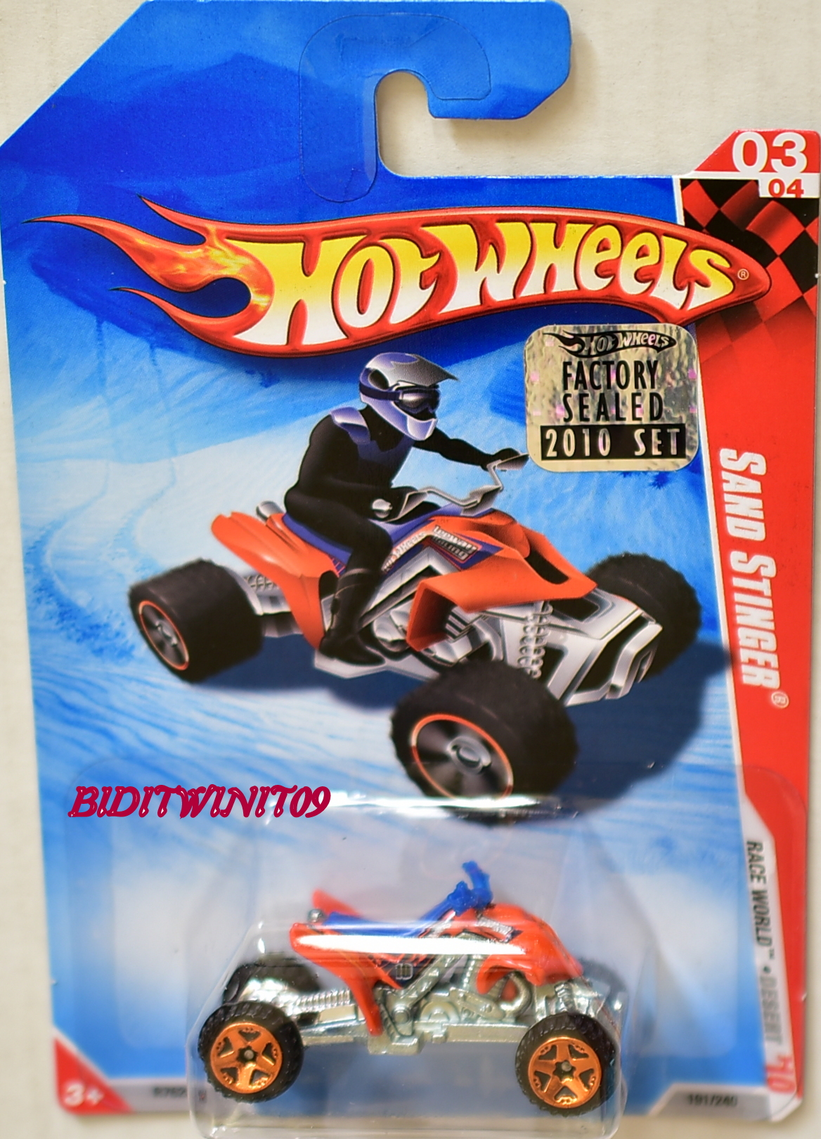 HOT WHEELS 2010 RACE WORD SAND STINGER #03/04 FACTORY SEALED E+