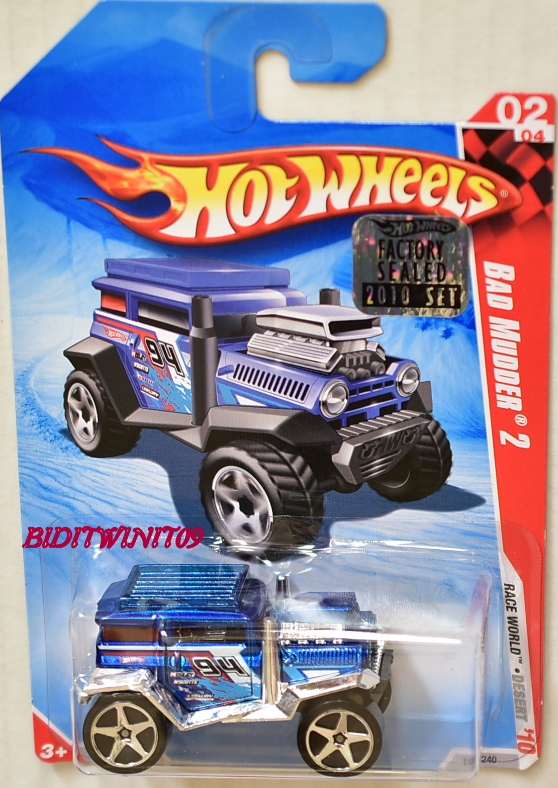 HOT WHEELS 2010 RACE WORD BAD MUDDER 2 BLUE FACTORY SEALED