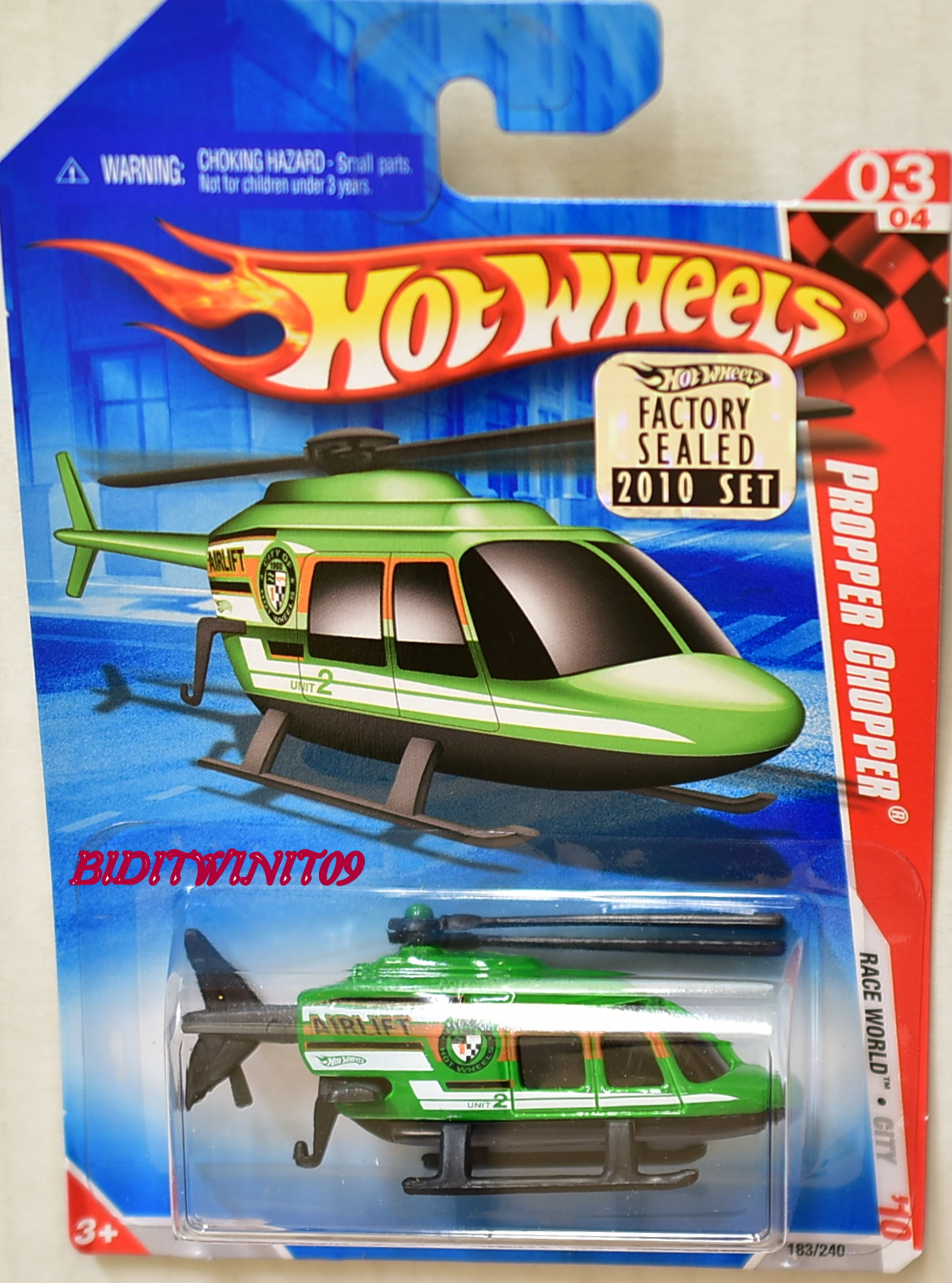HOT WHEELS 2010 RACE WORLD PROPPER CHOPPER FACTORY SEALED