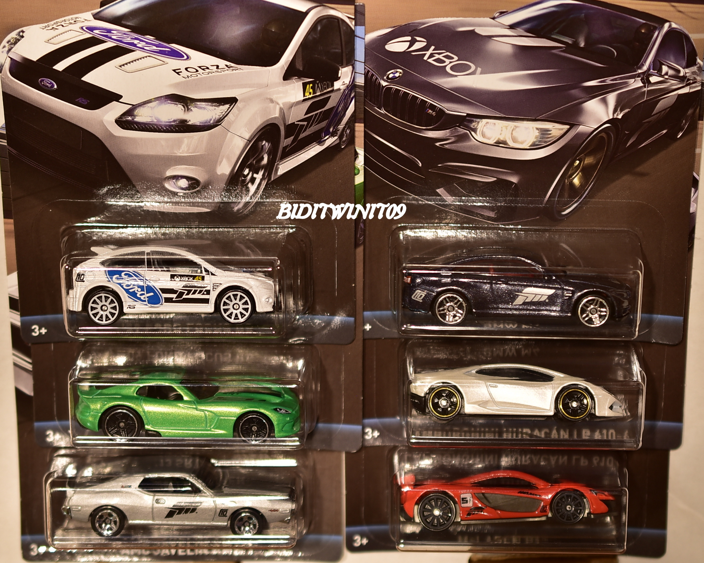 HOT WHEELS 2017 FORZA MOTORSPORT SET OF 6 MCLAGEN P1 - BMW M4 - LAMBORGHINI