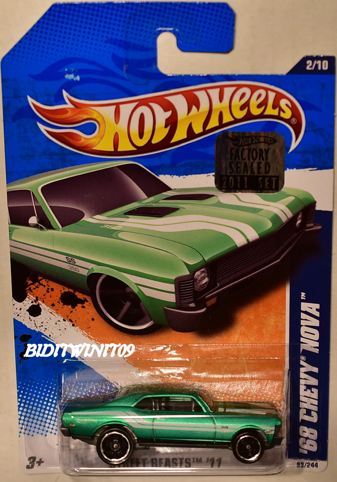 HOT WHEELS 2011 STREET BEASTS '68 CHEVY NOVA #2/10 GREEN FACTORY SEALED