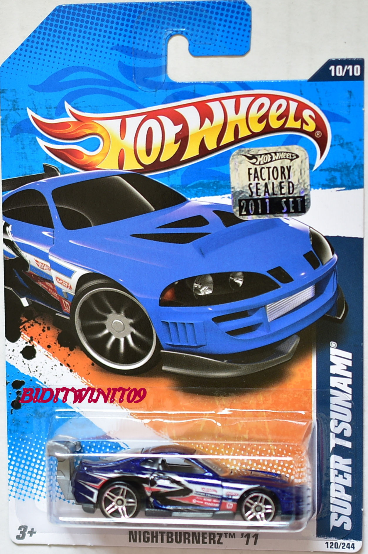 HOT WHEELS 2011 NIGHTBURNERZ SUPER TSUNAMI BLUE FACTORY SEALED