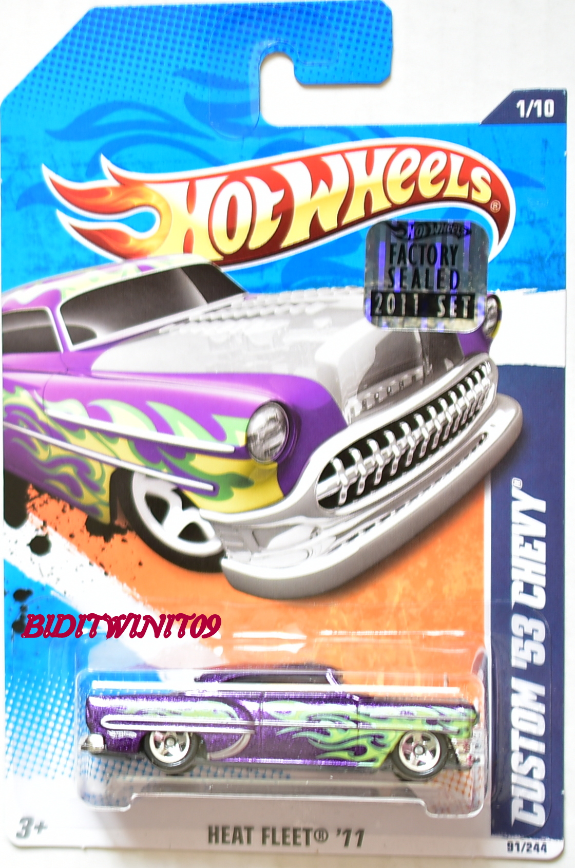 HOT WHEELS 2011 HEAT FLEET CUSTOM '53 CHEVY PURPLE FACTORY SEALED E+