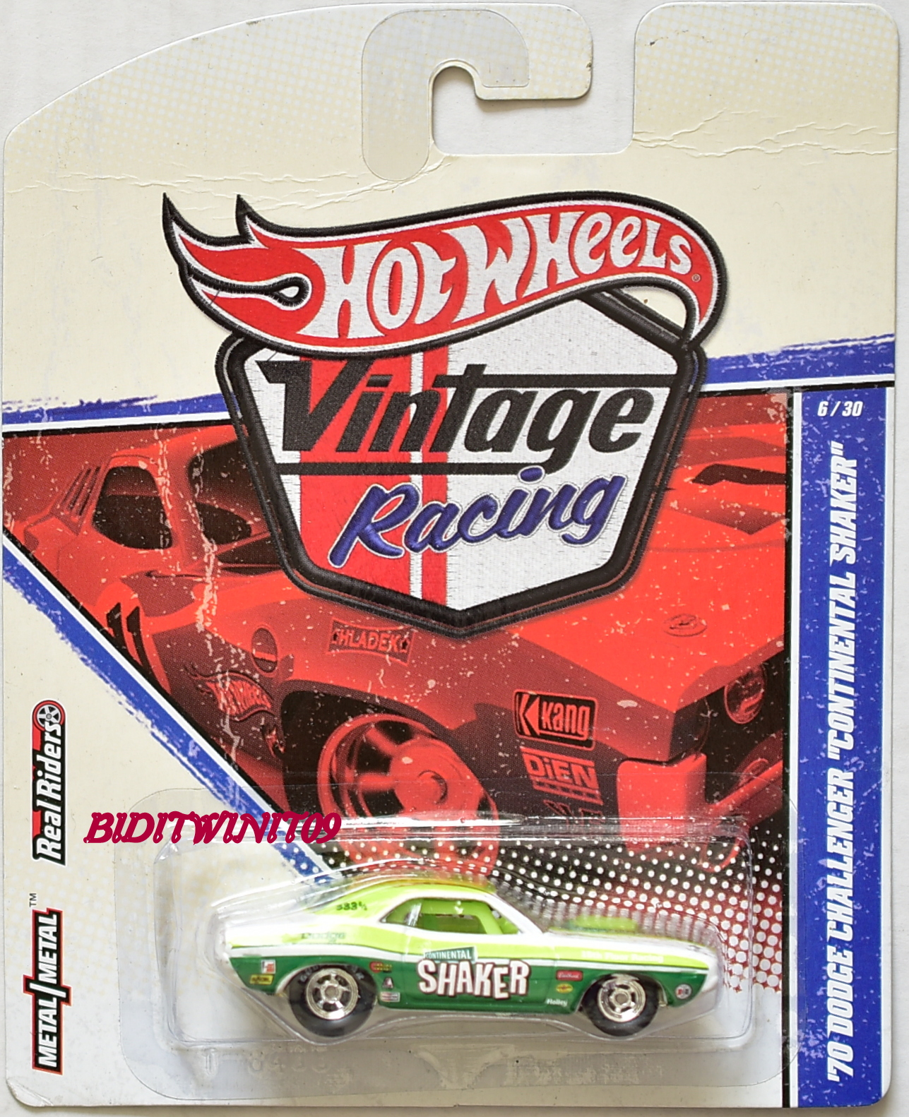 HOT WHEELS VINTAGE RACING '70 DODGE CHALLENGER CONTINENTAL SHAKER #6/30 E+