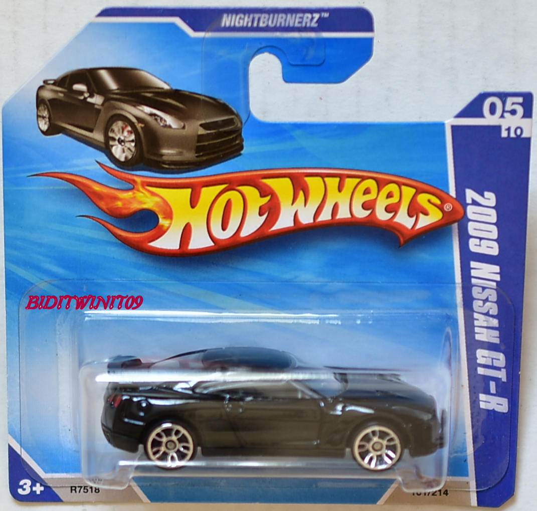 HOT WHEELS 2010 NIGHTBURNERZ 2009 NISSAN GT-R #05/10 BLACK SHOT CARD E+