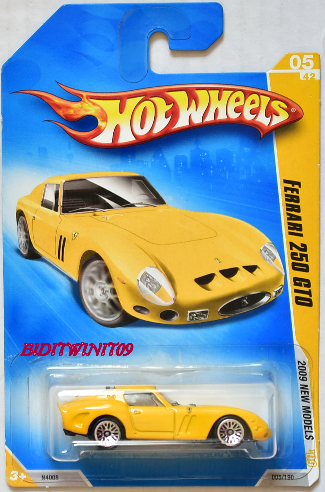 HOT WHEELS 2009 NEW MODELS FERRARI 250 GTO YELLOW E+