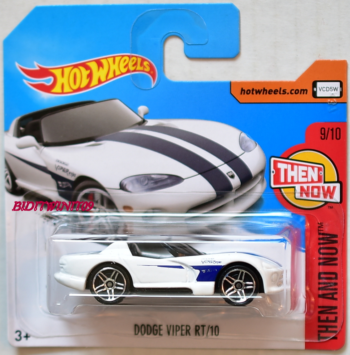 HOT WHEELS 2018 THEN AND NOW DODGE VIPER RT/10 #9/10 WHITE SHORT CARD