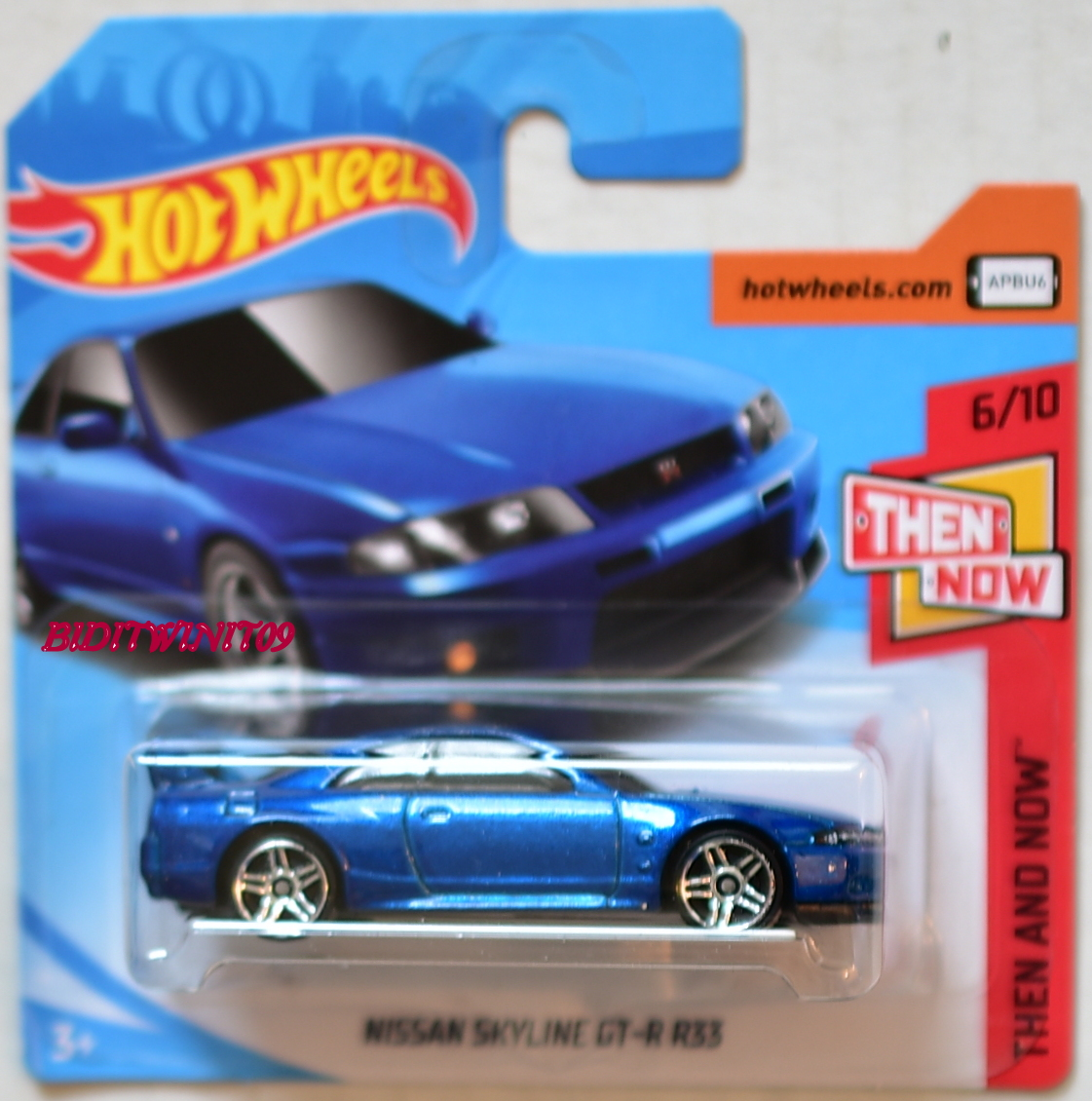 HOT WHEELS 2018 THEN AND NOW NISSAN SKYLINE GT-R R33 BLUE SHORT CARD