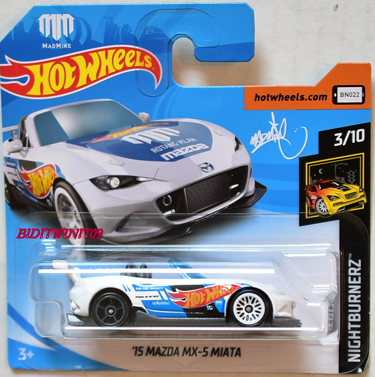 HOT WHEELS 2018 NIGHTBURNERZ '15 MAZDA MX-5 MIATA #3/10 SHORT CARD