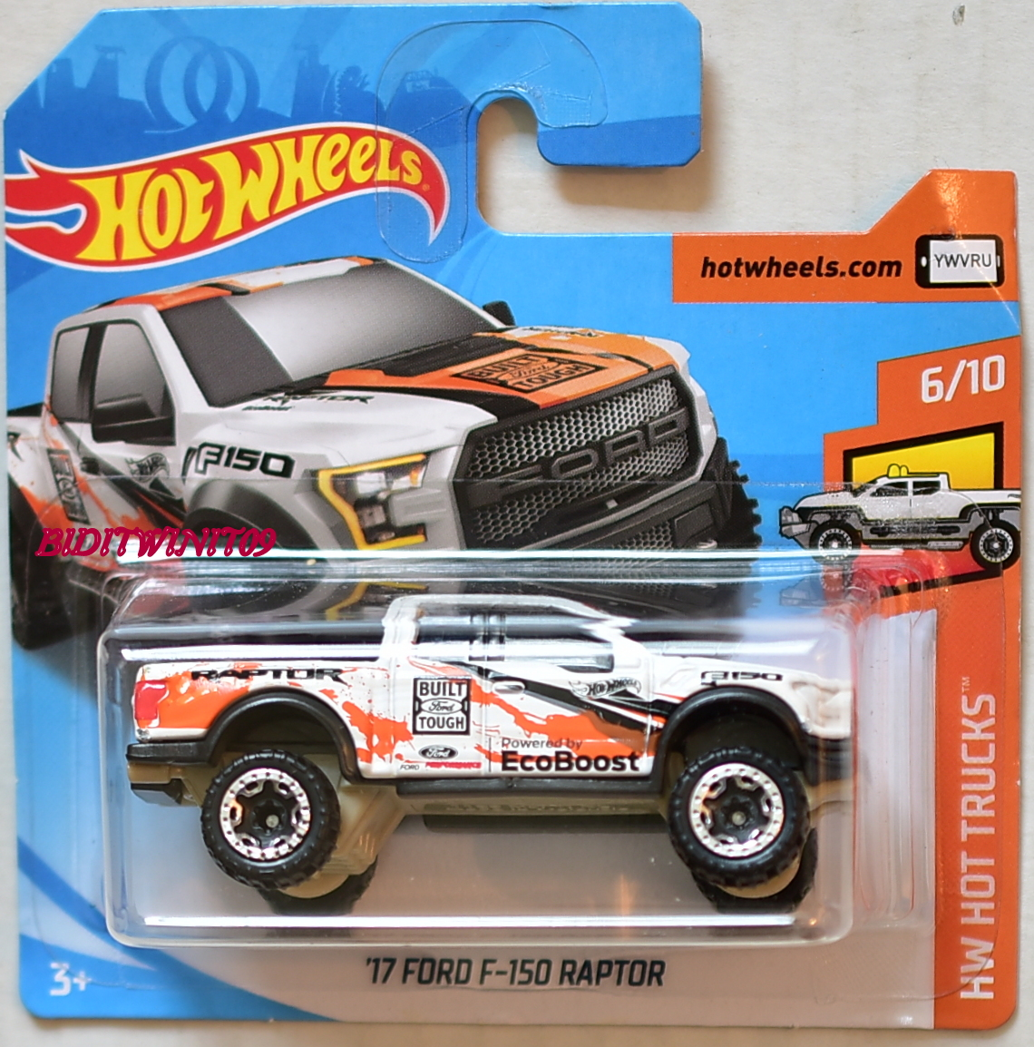 hot wheels 2018 hw hot trucks 39 17 ford f 150 raptor 6 10 short card 0005311. Black Bedroom Furniture Sets. Home Design Ideas