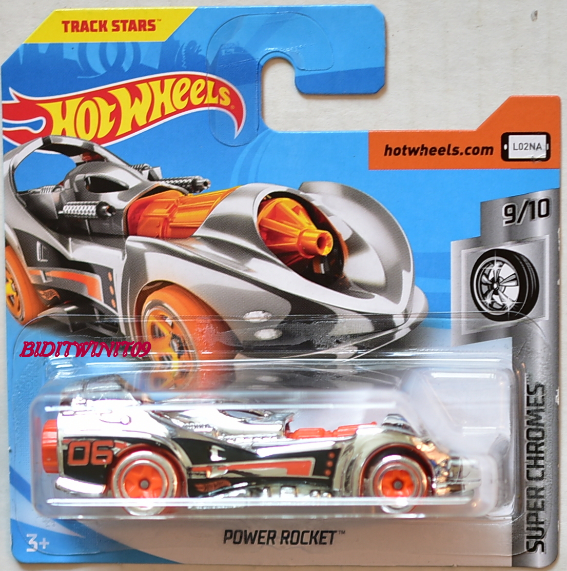 hot wheels 2018 super chromes power rocket 9 10 short card 0005309. Black Bedroom Furniture Sets. Home Design Ideas