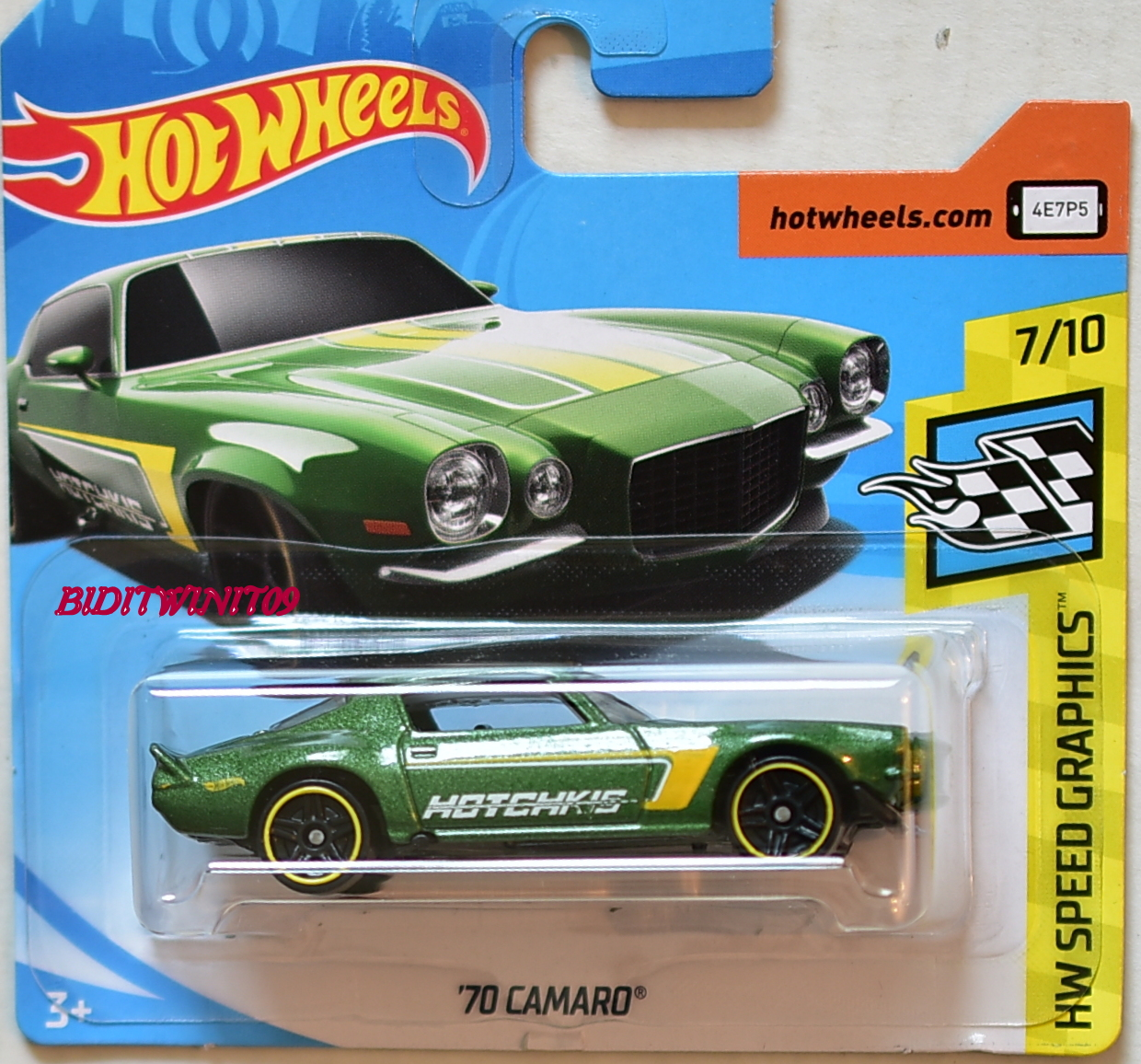 hot wheels 2018 hw speed graphics 39 70 camaro green short card 0005037 biditwinit09. Black Bedroom Furniture Sets. Home Design Ideas
