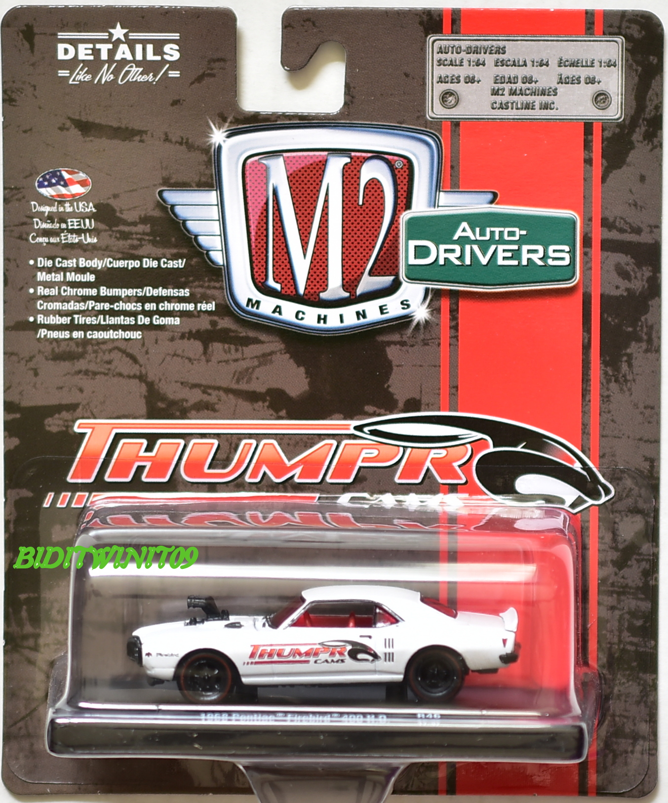 M2 MACHINES AUTO DRIVERS THUMPR CAMS 1968 PONTIAC FIREBIRD 400 H.O R46